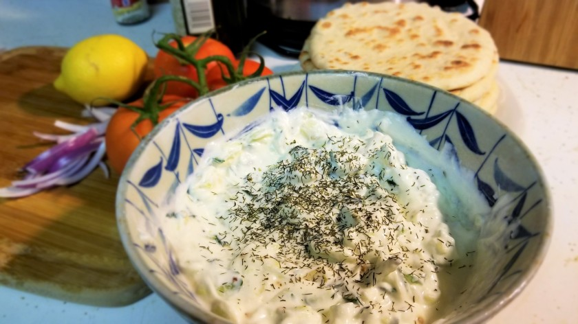 Easy Greek tzatziki and pocketless pita bread